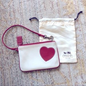 Coach heart wristlet in white and red leather